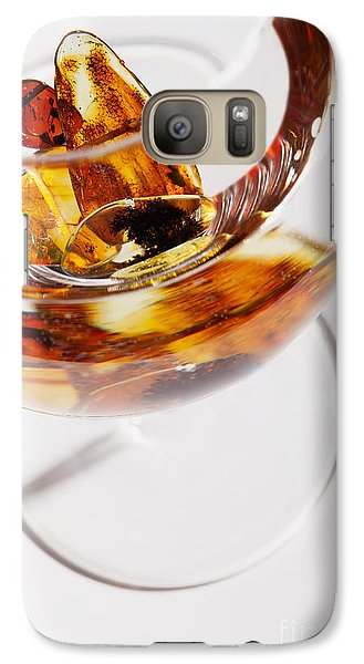 Galaxy Case featuring the photograph Yellow Amber Stones In A Glass. by Andrey  Godyaykin