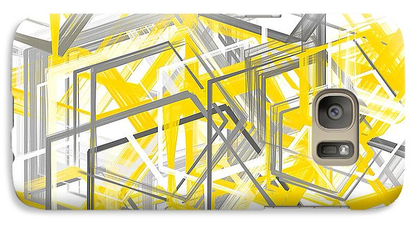 Yellow And Gray Geometric Shapes Art Galaxy Case by Lourry Legarde