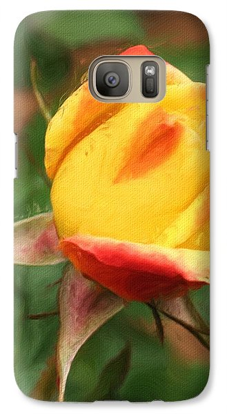 Galaxy Case featuring the painting Yellow And Orange Rosebud by Smilin Eyes  Treasures