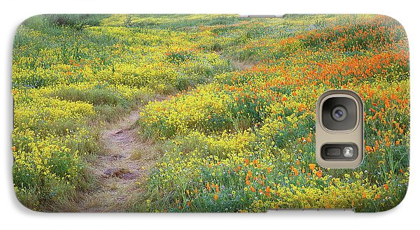 Galaxy Case featuring the photograph Yellow And Orange Wildflowers Along Trail Near Diamond Lake by Jetson Nguyen