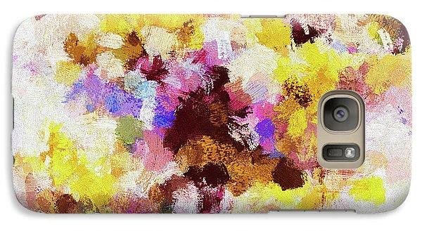 Galaxy Case featuring the painting Yellow And Pink Abstract Painting by Ayse Deniz