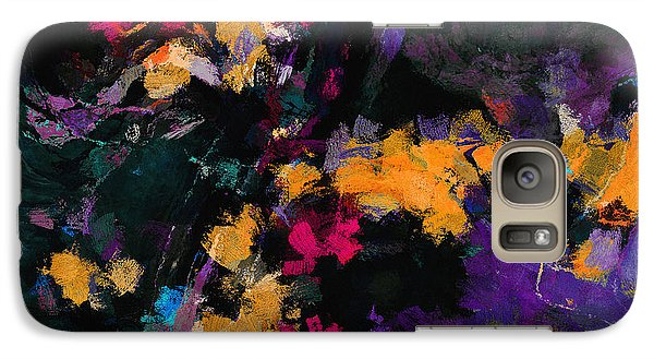 Galaxy Case featuring the painting Yellow And Purple Abstract / Modern Painting by Ayse Deniz