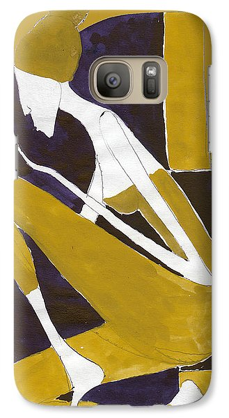 Galaxy Case featuring the painting Yellow And Violet by Maya Manolova