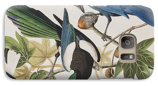 Magpies Galaxy S7 Case - Yellow-billed Magpie Stellers Jay Ultramarine Jay Clark's Crow by John James Audubon