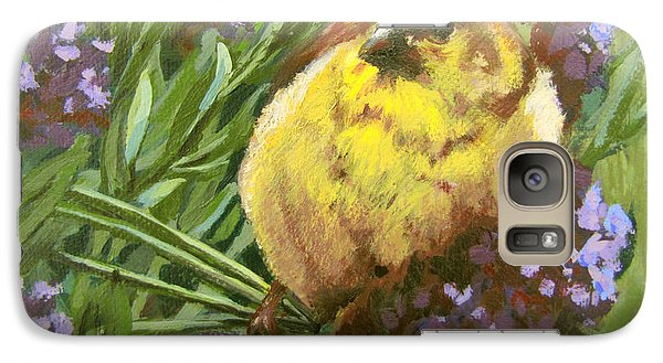 Galaxy Case featuring the painting Yellow Bird by Karen Ilari
