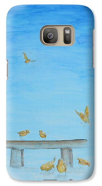 Galaxy Case featuring the painting Yellow Birds In The Blue1 by Nik Helbig