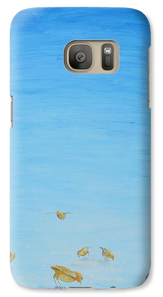 Galaxy Case featuring the painting Yellow Birds In The Blue2 by Nik Helbig