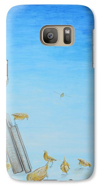 Galaxy Case featuring the painting Yellow Birds In The Blue3 by Nik Helbig