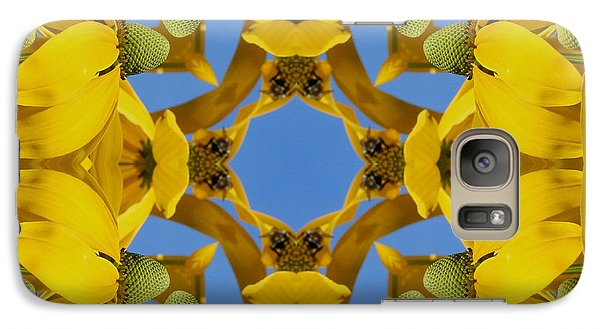 Galaxy Case featuring the photograph Yellow Coneflower Kaleidoscope by Smilin Eyes  Treasures