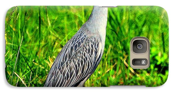 Galaxy Case featuring the photograph Yellow Crested Night Heron Catches A Fiddler Crab by Barbara Bowen