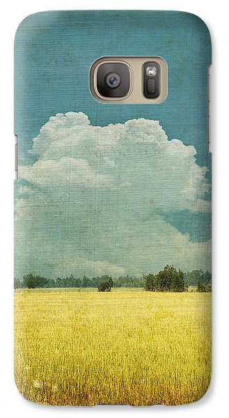 Yellow Field On Old Grunge Paper Galaxy Case by Setsiri Silapasuwanchai