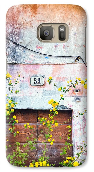 Galaxy Case featuring the photograph Yellow Flowers And Decayed Wall by Silvia Ganora