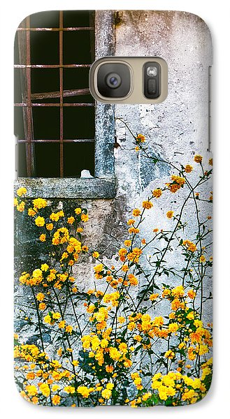 Galaxy Case featuring the photograph Yellow Flowers And Window by Silvia Ganora