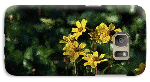 Galaxy Case featuring the photograph Yellow Flowers, Black Bee by Travis Burgess