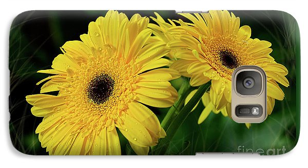 Galaxy Case featuring the photograph Yellow Gerbera Daisies By Kaye Menner by Kaye Menner