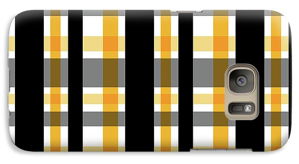Galaxy Case featuring the photograph Yellow Gold And Black Plaid Striped Pattern Vrsn 1 by Shelley Neff