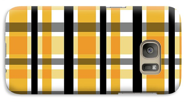 Galaxy Case featuring the photograph Yellow Gold And Black Plaid Striped Pattern Vrsn 2 by Shelley Neff