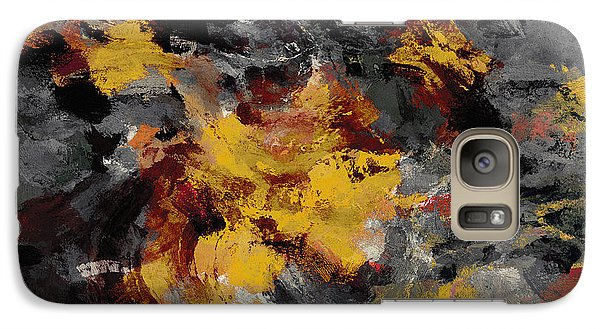 Galaxy Case featuring the painting Yellow / Golden Abstract / Surrealist Landscape Painting by Ayse Deniz