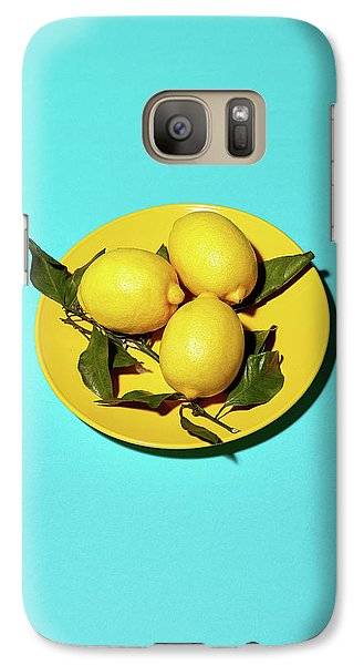 Yellow Lemons On Cyan Galaxy Case by Oleg Cherneikin