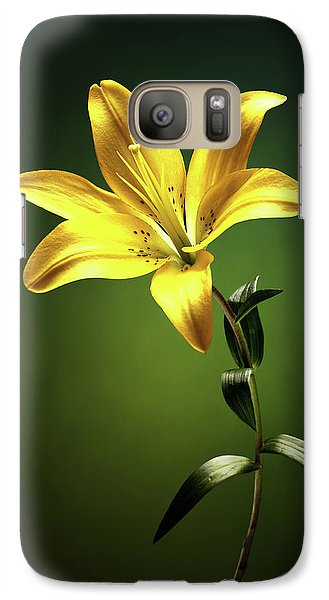 Lily Galaxy S7 Case - Yellow Lilly With Stem by Johan Swanepoel