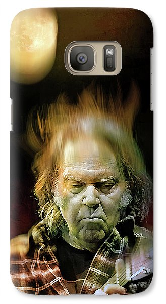 Yellow Moon On The Rise Galaxy S7 Case by Mal Bray