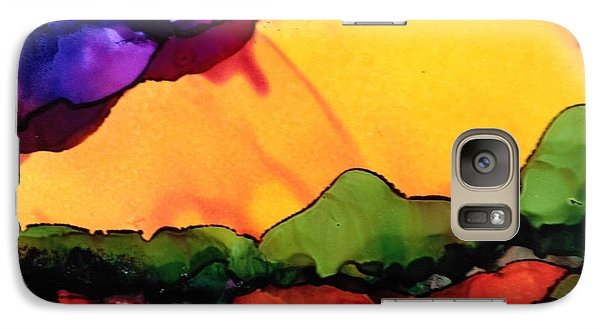 Galaxy Case featuring the painting Yellow Mountain by Suzanne Canner