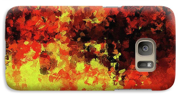 Galaxy Case featuring the painting Yellow, Red And Black by Ayse Deniz