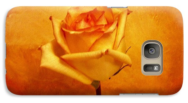 Galaxy Case featuring the photograph Yellow Red Orange Tipped Rose by Marsha Heiken
