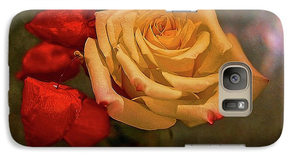 Galaxy Case featuring the photograph Yellow Rose And Chinese Lanterns by Diana Mary Sharpton