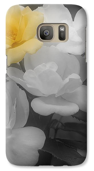 Galaxy Case featuring the photograph Yellow Rose Cluster Partial Color by Smilin Eyes  Treasures