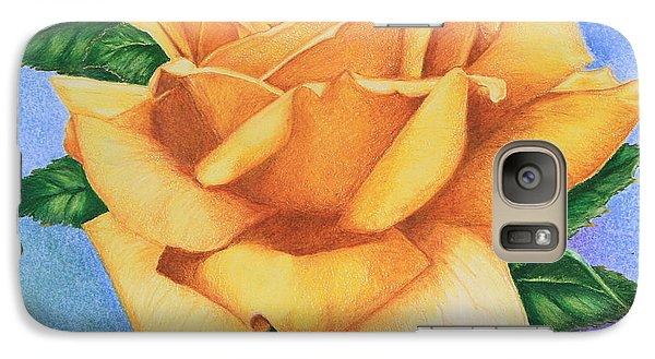 Galaxy Case featuring the drawing Yellow Rose by Marna Edwards Flavell