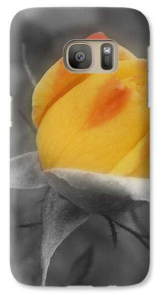 Galaxy Case featuring the photograph Yellow Rosebud Partial Color by Smilin Eyes  Treasures