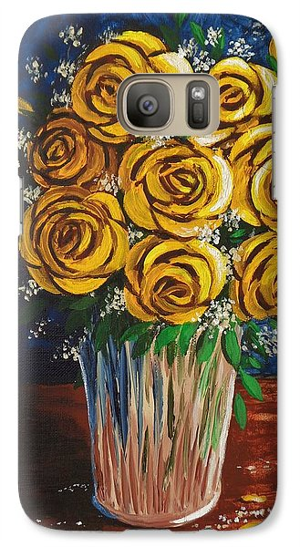 Galaxy Case featuring the painting Yellow Roses by Katherine Young-Beck