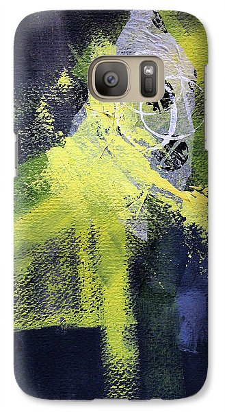 Galaxy S7 Case featuring the painting Yellow Splash by Nancy Merkle