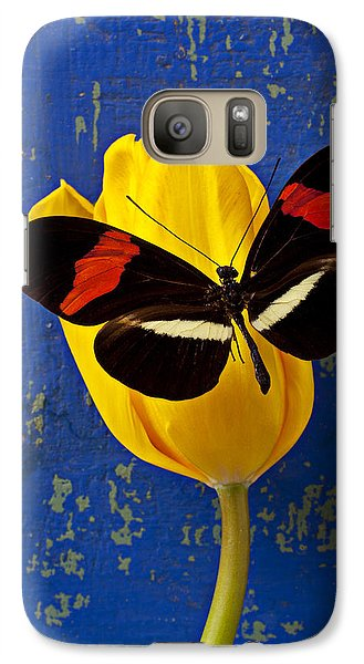 Yellow Tulip With Orange And Black Butterfly Galaxy S7 Case