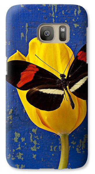 Tulip Galaxy S7 Case - Yellow Tulip With Orange And Black Butterfly by Garry Gay