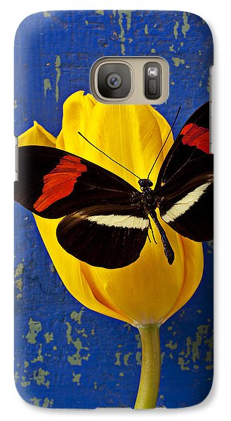 Yellow Tulip With Orange And Black Butterfly Galaxy Case by Garry Gay