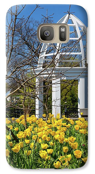 Galaxy Case featuring the photograph Yellow Tulips And Gazebo by Tom Mc Nemar