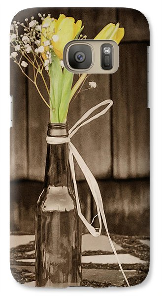 Galaxy Case featuring the photograph Yellow Tulips In Glass Bottle Sepia by Terry DeLuco