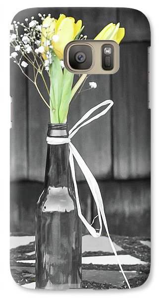 Galaxy Case featuring the photograph Yellow Tulips In Glass Bottle by Terry DeLuco