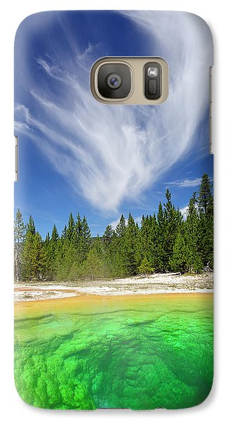 Galaxy Case featuring the photograph Yellowstone's Morning Glory Pool Pool And Awesome Clouds by Bruce Gourley