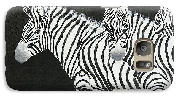 Yin And Yang Triptych White On Black Galaxy Case by Mohamed Hirji
