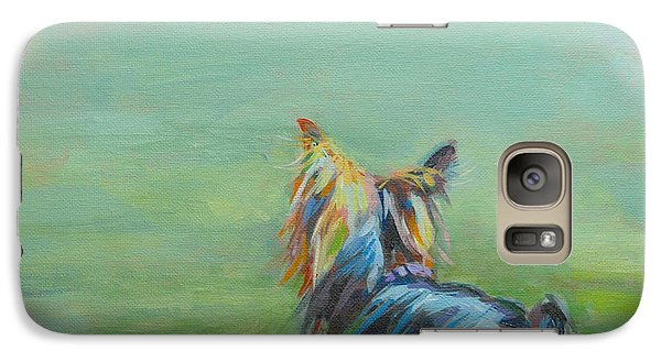 Yorkie In The Grass Galaxy Case by Kimberly Santini