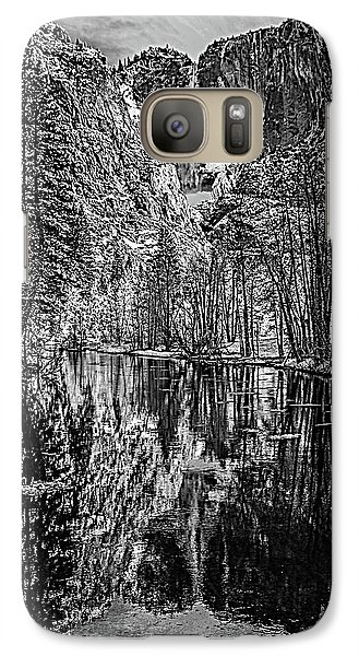 Galaxy Case featuring the photograph Yosemite Falls From The Swinging Bridge In Black And White by Bill Gallagher