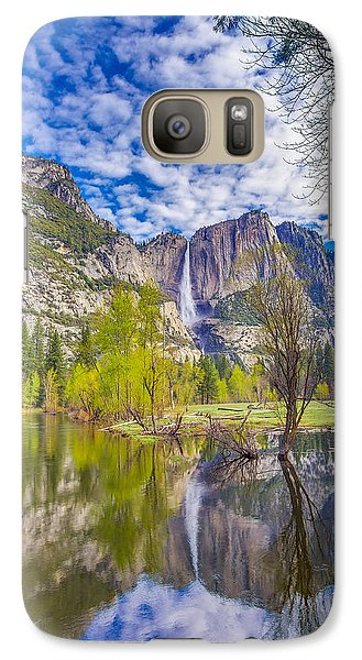 Galaxy Case featuring the photograph Yosemite Falls In Spring Reflection by Scott McGuire