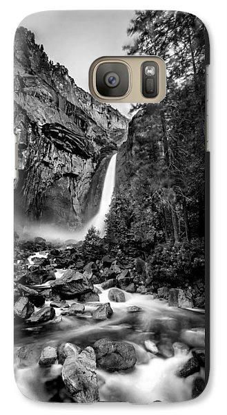 Yosemite National Park Galaxy S7 Case - Yosemite Waterfall Bw by Az Jackson