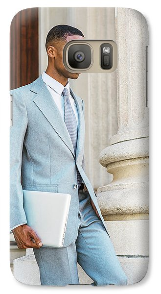 Young African American Businessman Working In New York Galaxy S7 Case