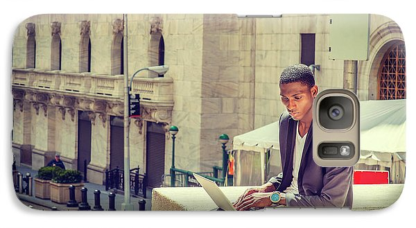 Young African American Man Working On Wall Street In New York Galaxy S7 Case