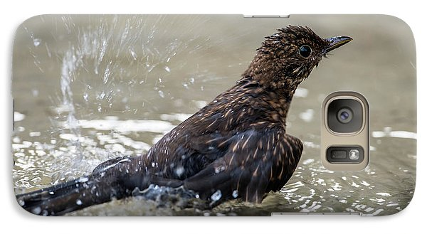 Galaxy Case featuring the photograph Young Blackbird's Bath by Torbjorn Swenelius