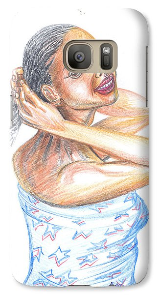 Galaxy Case featuring the painting Young Cameroun Woman Tying Her Hair by Emmanuel Baliyanga